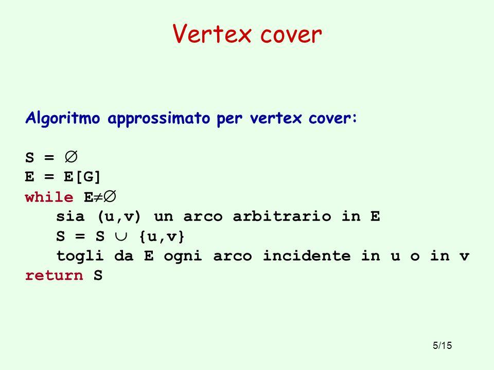 Vertex cover Algoritmo approssimato per vertex cover: S =  E = E[G]